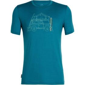Icebreaker Tech Lite Surfspot Camper t-shirt Heren, poseidon